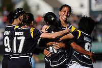 Marta Vieira da Silva (10) of the Los Angeles Sol celebrates scoring with teammates Han Duan (9), Liz Bogus (17), Shannon Boxx (7), and Aya Miyama (8). The Los Angeles Sol defeated Sky Blue FC 2-0 during a Women's Professional Soccer match at TD Bank Ballpark in Bridgewater, NJ, on April 5, 2009. Photo by Howard C. Smith/isiphotos.com