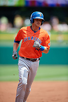 Syracuse Mets Travis Taijeron (19) rounds the bases after a home run by Rymer Liriano (not shown) during an International League game against the Indianapolis Indians on July 17, 2019 at Victory Field in Indianapolis, Indiana.  Syracuse defeated Indianapolis 15-5  (Mike Janes/Four Seam Images)