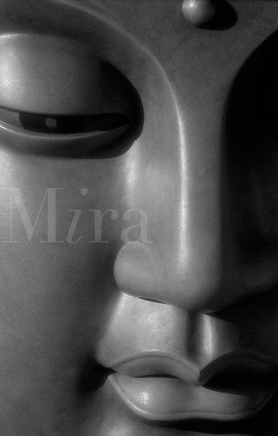 Detail of face of bronze Buddha face, Ushiku, Daibutsa, Japan
