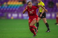 ORLANDO, FL - FEBRUARY 24: Jordyn Listro #21 of the CANWNT runs toward the ball during a game between Brazil and Canada at Exploria Stadium on February 24, 2021 in Orlando, Florida.