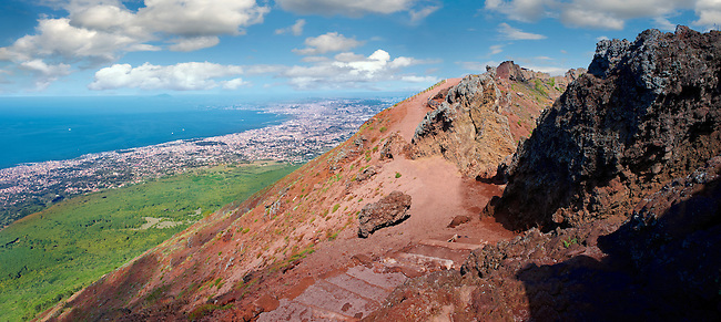 The volcanic crater of Mount Vesuvius, Italy