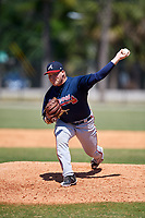 Atlanta Braves pitcher Drew Harrington (33) during a Minor League Spring Training game against the Detroit Tigers on March 22, 2018 at the TigerTown Complex in Lakeland, Florida.  (Mike Janes/Four Seam Images)
