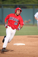 Alfonso Rivas (25) of the Arizona Wildcats runs the bases during a game against the UCLA Bruins at Jackie Robinson Stadium on March 19, 2017 in Los Angeles, California. UCLA defeated Arizona, 8-7. (Larry Goren/Four Seam Images)