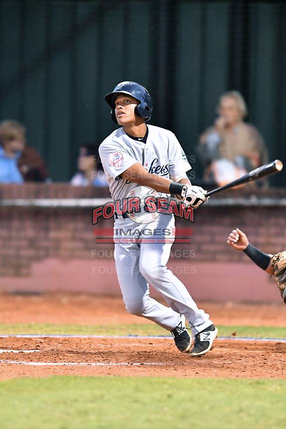 Pulaski Yankees third baseman Ricky Surum (2) swings at a pitch during game one of the Appalachian League Championship Series against the Elizabethton Twins at Joe O'Brien Field on September 7, 2017 in Elizabethton, Tennessee. The Twins defeated the Yankees 12-1. (Tony Farlow/Four Seam Images)
