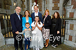 Gaelscoil Mhic Easminn student Rachel O'Mahoney at her First Holy Communion on Saturday in St Johns Church Tralee, l to r: Gerard and Ruth Colleran, Ben, Brian and Cora O'Mahoney and Sarah Colleran.