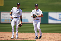 Detroit Tigers shortstop Gage Workman (27) and second baseman  Andre Lipcius (41) during a Minor League Spring Training game against the Baltimore Orioles on April 14, 2021 at Joker Marchant Stadium in Lakeland, Florida.  (Mike Janes/Four Seam Images)