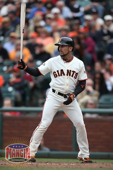 SAN FRANCISCO, CA - MAY 8:  Andres Torres #56 of the San Francisco Giants bats against the Philadelphia Phillies during the game at AT&T Park on Wednesday, May 8, 2013 in San Francisco, California. Photo by Brad Mangin
