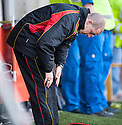 Albion manager Todd Lumsden is dejected as he sees his team relegated to the third division.