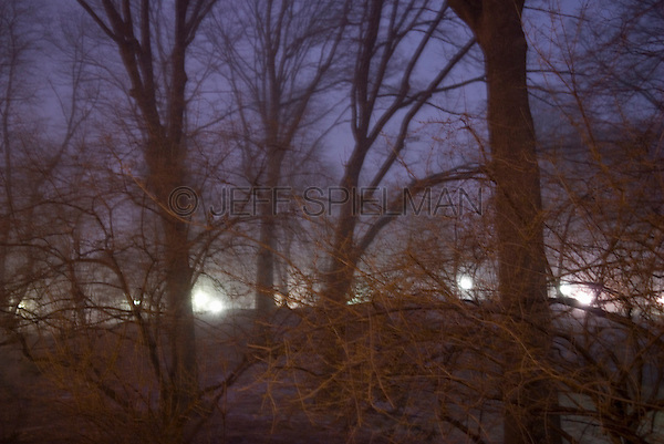 AVAILABLE FROM JEFF FOR COMMERCIAL OR EDITORIAL LICENSING.<br /> <br /> Defocused View of Central Park at Dusk During a Brief Snowfall, New York City, New York State, USA