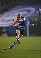 8th January 2021; Recreation Ground, Bath, Somerset, England; English Premiership Rugby, Bath versus Wasps; Rhys Priestland of Bath kicks a penalty