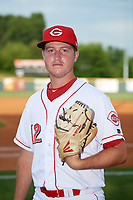 Greeneville Reds pitcher Justin McGregor (12) poses for a photo before a game against the Pulaski Yankees on July 27, 2018 at Pioneer Park in Tusculum, Tennessee.  Greeneville defeated Pulaski 3-2.  (Mike Janes/Four Seam Images)