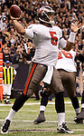 December 2009: Tampa Bay Buccaneers quarterback Josh Freeman (5) passes the ball in his own endzone during an NFL football game at the Louisiana Superdome in New Orleans.  The Buccaneers defeated the Saints 20-17.
