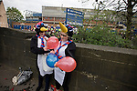 Sheffield Wednesday 2 Crystal Palace 2, 02/05/2010. Hillsborough. Championship. Two Crystal Palace fans dressed as penguins pictured outside Hillsborough before their team's crucial last-day relegation match against Sheffield Wednesday. The match ended in a 2-2 draw which meant Wednesday were relegated to League 1. Crystal Palace remained in the Championship despite having been deducted 10 points for entering administration during the season. Photo by Colin McPherson.