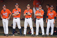 The Virginia Cavaliers bench watches the action against the St. John's Red Storm at the Charlottesville Regional of the 2010 College World Series at Davenport Field on June 6, 2010, in Charlottesville, Virginia.  The Red Storm defeated the Cavaliers 6-5.   Photo by Brian Westerholt / Four Seam Images