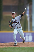 North Carolina Central Eagles starting pitcher Landon Fraley (25) delivers a pitch to the plate against the High Point Panthers at Williard Stadium on February 28, 2017 in High Point, North Carolina. The Eagles defeated the Panthers 11-5. (Brian Westerholt/Four Seam Images)