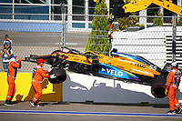 27th September 2020, Sochi, Russia; FIA Formula One Grand Prix of Russia, Race Day; The car of 55 CarlSainz ESP, McLaren F1 Team is removed after crashing on the first lap
