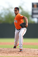 San Francisco Giants pitcher Kendry Melo (63) during an Instructional League game against the Oakland Athletics on October 15, 2014 at Papago Park Baseball Complex in Phoenix, Arizona.  (Mike Janes/Four Seam Images)