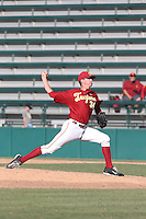 Mason Perryman (34) of the Southern California Trojans pitches during a game against the Oregon Ducks at Dedeaux Field on April 18, 2015 in Los Angeles, California. Oregon defeated Southern California, 15-4. (Larry Goren/Four Seam Images)
