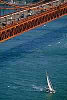 San Francisco, California.  Golden Gate Bridge, Sail Boat