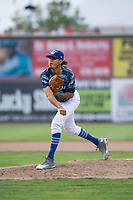 Ogden Raptors starting pitcher Jose Chacin (26) follows through on his delivery during a Pioneer League game against the Billings Mustangs at Lindquist Field on August 17, 2018 in Ogden, Utah. The Billings Mustangs defeated the Ogden Raptors by a score of 6-3. (Zachary Lucy/Four Seam Images)