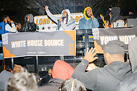 People dance as demonstrators gather in McPherson Square near the White House on the night of Election Day in Washington, D.C., on Tue., Nov. 3, 2020. Election results remained uncertain late into the night and demonstrators were peaceful.