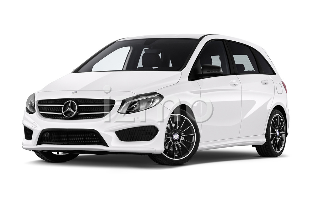 Stock pictures of low aggressive front three quarter view of a 2018 Mercedes Benz B Class Base 5 Door Hatchback