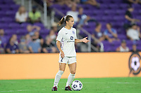 ORLANDO, FL - SEPTEMBER 11: Lauren Milliet #2 of Racing Louisville FC dribbles a ball during a game between Racing Louisville FC and Orlando Pride at Exploria Stadium on September 11, 2021 in Orlando, Florida.