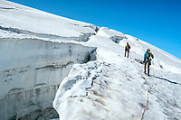 The Chamonix to Zermatt Glacier Haute Route. In late August 2017, we ran the tour in mountain running gear, running shoes, and all the necessary glacier travel and crevasse rescue gear.  Navigating crevasses on the Col de l'Eveque.