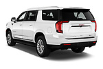 Car pictures of rear three quarter view of 2021 GMC Yukon-XL SLT 5 Door SUV Angular Rear