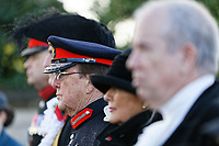 Pictured: Morfudd Meredith, Her Majesty's Lord-Lieutenant of South Glamorgan joins other local dignitaries. Sunday 11 November 2018<br /> Re: Commemoration for the 100 years since the end of the First World War on Remembrance Day at the Swansea Cenotaph in south Wales, UK.
