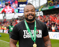 Mathieu Bastareaud of RC Toulon celebrates winning during the Heineken Cup Final between ASM Clermont Auvergne and RC Toulon at the Aviva Stadium, Dublin on Saturday 18th May 2013 (Photo by Rob Munro)