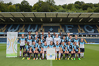 The Wycombe Wanderers 2015/16 Team Photo with Active Bucks signage during Wycombe Wanderers Team Photoshoot 2015  at Adams Park, High Wycombe, England on 3 August 2015. Photo by PRiME Media Images.