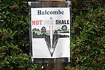 Balcombe West Sussex UK. Anti fracking poster in hedge in village of Balcombe. Balcombe is Not For Shale.