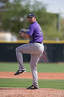 Colorado Rockies relief pitcher George Thanopoulos (95) during a Minor League Spring Training game against the Los Angeles Angels at Tempe Diablo Stadium Complex on March 18, 2018 in Tempe, Arizona. (Zachary Lucy/Four Seam Images)