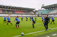 Warming-up Club Brugge YLA pictured during a female soccer game between Club Brugge Dames YLA and Standard Femina de Liege on the first matchday of the 2021 - 2022 season of Belgian Scooore Womens Super League , saturday 21 August 2021in Aalter , Belgium . PHOTO SPORTPIX   DAVID CATRY