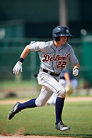 Detroit Tigers Danny Woodrow (22) runs to first base during an Instructional League game against the Atlanta Braves on October 10, 2017 at the ESPN Wide World of Sports Complex in Orlando, Florida.  (Mike Janes/Four Seam Images)