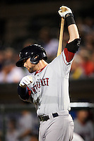 Pawtucket Red Sox outfielder Bryce Brentz #25 on deck during game three of a best of five playoff series against the Empire State Yankees at Frontier Field on September 7, 2012 in Rochester, New York.  Empire State defeated Pawtucket 4-3 to send the series to game four as Pawtucket leads two games to one.  (Mike Janes/Four Seam Images)