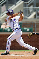 Outfielder Brance Rivera #5 of the Texas Christian University Horned Frogs swings during the NCAA Regional baseball game against the Ole Miss Rebels on June 1, 2012 at Blue Bell Park in College Station, Texas. Ole Miss defeated TCU 6-2. (Andrew Woolley/Four Seam Images)