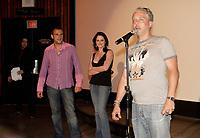 Patrick Huard (G),Julie Laurier (M) and  Erik Canuel (D)  Presentent le film BON COP, BAD COP en cloture du Festival FantAsia 2005