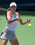 August 4,2018:   Magda Linette (POL) loses to Donna Vekic (CRO) 6-1, 7-6, at the CitiOpen being played at Rock Creek Park Tennis Center in Washington, DC, .  ©Leslie Billman/Tennisclix/CSM