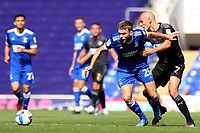13th September 2020; Portman Road, Ipswich, Suffolk, England, English League One Footballl, Ipswich Town versus Wigan Athletic; Aaron Drinan of Ipswich Town takes on Kal Naismith of Wigan Athletic