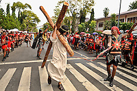 Roman legionaire whipping an actor portraying Jesus, as members of Ambon's devout Christian community take part in a Passion Play, one of the many Holy Week activities each Easter here. The 1999-2002 religious war between Maluku's Christian and Muslim populations, mainly centred on Ambon Island, led to over 5000 deaths and to around 500,000 people become displaced. Destroyed homes and offices, churches and mosques are slowly being either torn-down or renovated.  Urban centres, such as Ambon City, continue to be split along largely sectarian lines, and tensions are never far below the surface. Riots between Christian and Muslim youths erupted in September 2011 and, most recently, June 2012, though luckily simmered down just as quickly, partly due to community leaders learning how to defuse tensions from the earlier, more devastating, conflagration. /Felix Features