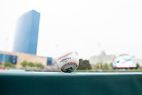 A detailed look at an International League baseball before a game between the Indianapolis Indians and Columbus Clippers on April 30, 2019 at Victory Field in Indianapolis, Indiana. Columbus defeated Indianapolis 7-6. (Zachary Lucy/Four Seam Images)
