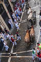 Espagne, Navarre, Pampelune: Fêtes de San Fermín, L'encierro  //  Spain, Navarre, Pamplona:  Festival of San Fermín, The running of the bulls, encierro