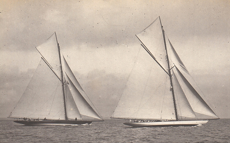 America's Cup contenders come to Dublin Bay in 1901? This is a mystery photo, origins unknown. According to a note with it, this is Lipton's Fife-designed Shamrock I – his challenger of 1899 – on left, being used as training-horse for his Watson-designed Shamrock II (challenger in 1901) at a regatta in Dublin Bay. Informed comments welcome……