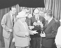 Richard Nixon and Nikita Khrushchev debating at the American National Exhibition in Moscow, 1959, part of what came to be known as the Kitchen Debate., July 24, 1959.<br /> <br /> <br /> PHOTO :  O'Halloran, Thomas J