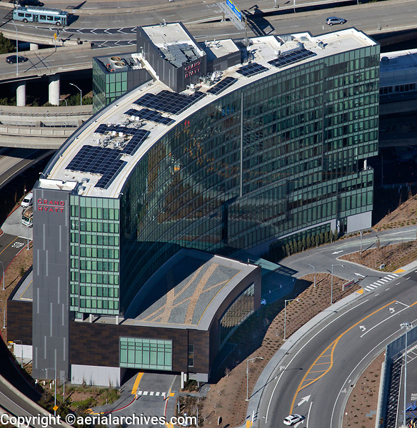 aerial photograph of the Grand Hyatt Hotel at San Francisco International airport (SFO), San Francisco, California