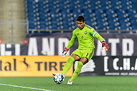 FOXBOROUGH, MA - SEPTEMBER 5: Pablo Jara #1 of Tormenta FC passes the ball during a game between Tormenta FC and New England Revolution II at Gillette Stadium on September 5, 2021 in Foxborough, Massachusetts.