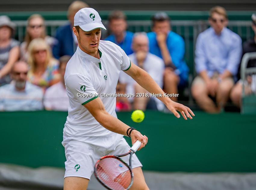 London, England, 10 th. July, 2018, Tennis,  Wimbledon, Junior boys: Deney Wassermann (NED)<br /> Photo: Henk Koster/tennisimages.com
