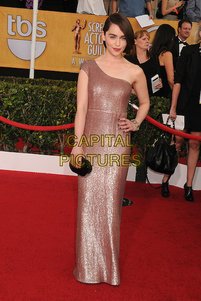 18 January 2014 - Los Angeles, California - Emilia Clarke. 20th Annual Screen Actors Guild Awards - Arrivals held at The Shrine Auditorium. Photo Credit: Byron Purvis/AdMedia<br /> CAP/ADM/BP<br /> ©Byron Purvis/AdMedia/Capital Pictures